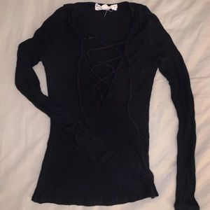 Urban Outfitters - Long-Sleeve Black Lace-Up Top